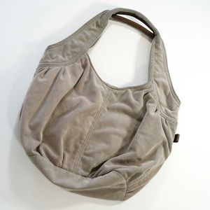 AEO light gray hobo button shut cloth bag